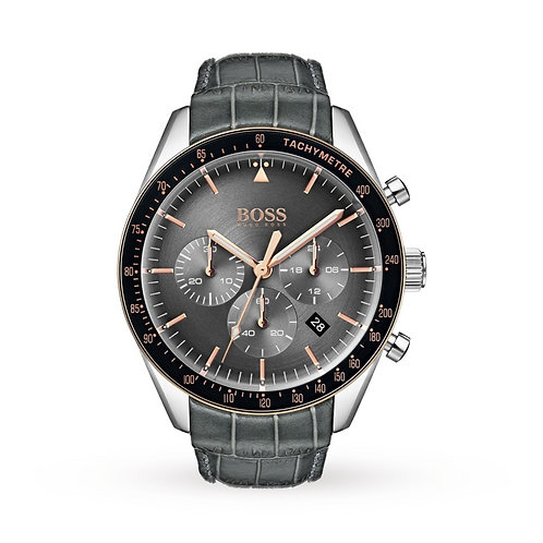 Hugo Boss Trophy Grey Leather Band Men's Watch - 1513628