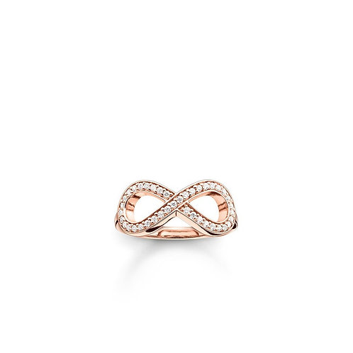 Thomas Sabo Silver Rose Gold Plated Infinity Ring - TR2014-416-14-56