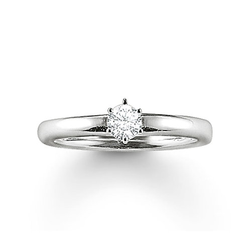 Thomas Sabo Sterling Silver CZ Solitaire Ring - TR1982-051-14