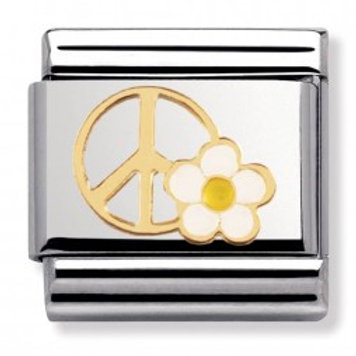 Nomination Gold Peace and Love Flower Charm Link - 030270/06