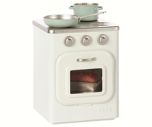 Metal Stove With Utensils, Off White - Maileg