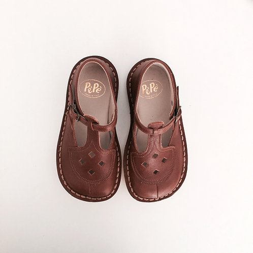 EZRA Kava Brown T-Strap Leather Shoes by PePe