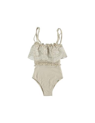 Smocked Swimsuit, Beige - Belle Chiara