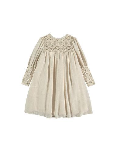 Bobbin lace Dress, Beige - Belle Chiara