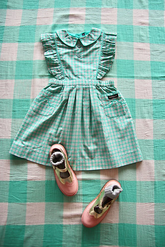 Apron Dress, Mint School Check - Bonjour Diary