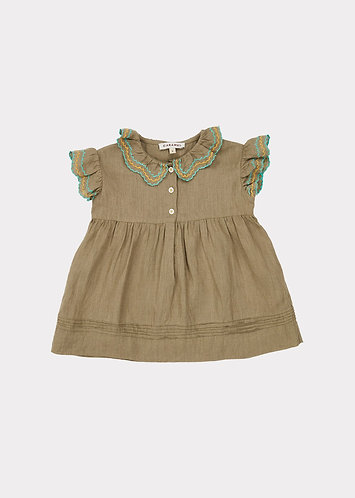 Sloane Square Baby Dress, Sage - Caramel
