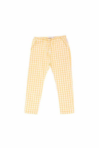 Check Cropped Pants, Off-white/Canary - Tiny Cottons