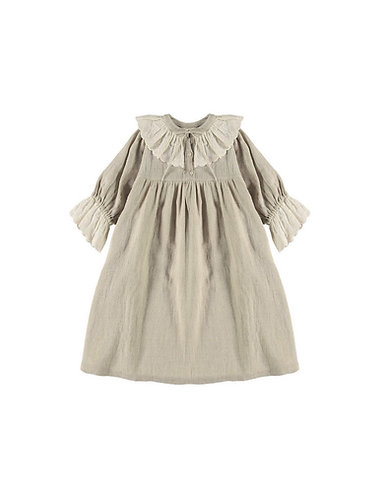 Embroidered Lace Dress, Natural Linen - Belle Chiara
