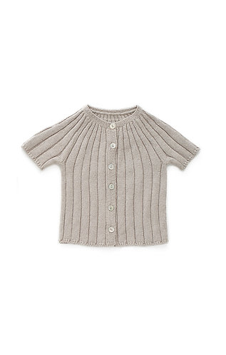 SS Ribbed Cardigan, Light Grey - Oeuf