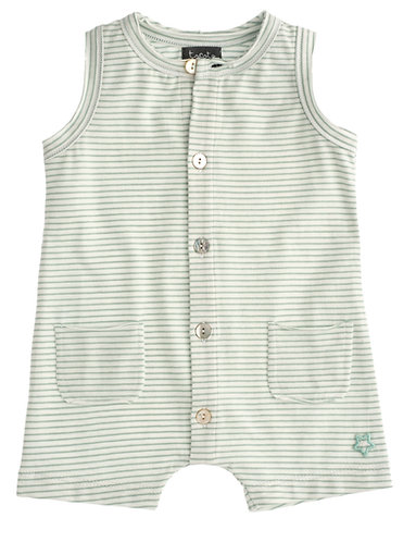 Striped Baby Short Jumpsuit, Green - Tocoto Vintage