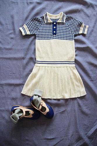 Knitted Tennis Dress, Pied De Cog - Bonjour Diary