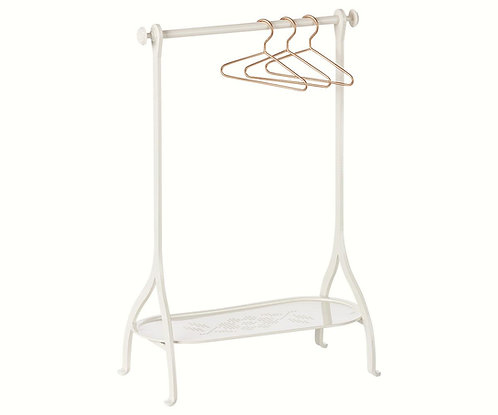 Clothes Rack With 3 Gold Hangers, Off White - Maileg