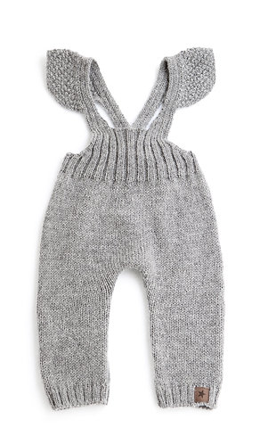 Baby Girl Knitted Overall, Grey - Tocoto Vintage