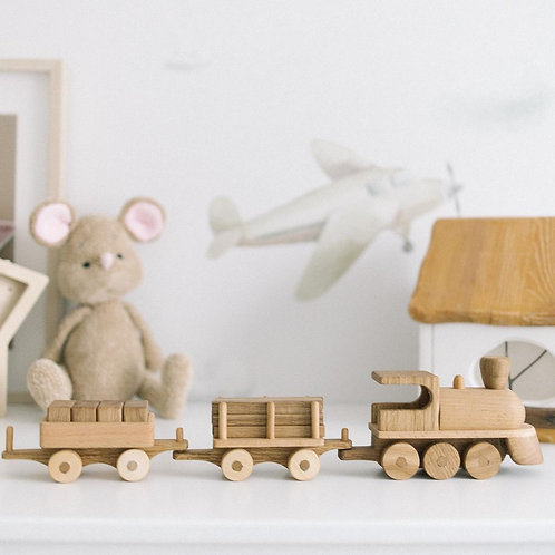 Wooden Toy Train And Two Wagons