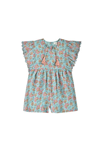 Girl Mayalia Jumpsuit, Turquoise Flowers - Louise Misha