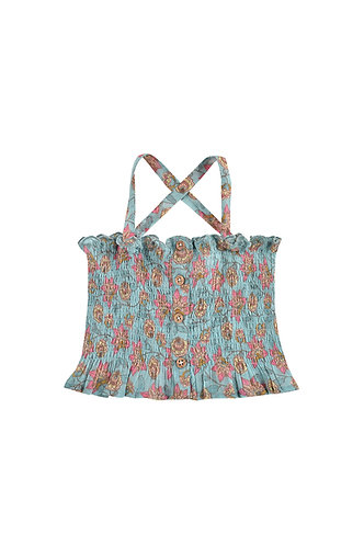 Malika Top, Turquoise Flowers - Louise Misha