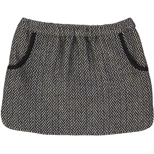 Mini Jupe Mesange Wool Skirt, Grey- Louis Louise