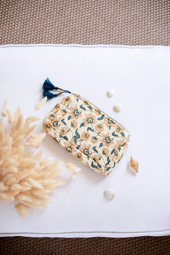 Mila Travel Pouch, Cream Flowers - Louise Misha