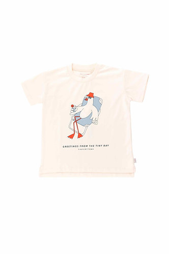 Bird Graphic Tee, Light Cream/Summer Grey - Tiny Cottons