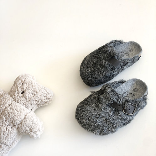 Fluffy Bio Clogs, Grey - Tocoto Vintage