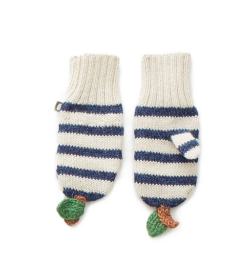 Apple Mittens, White/Indigo Stripes - Oeuf