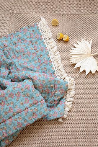 Enoha Plaid ( 2 Sizes), Turquoise Flowers - Louise Misha