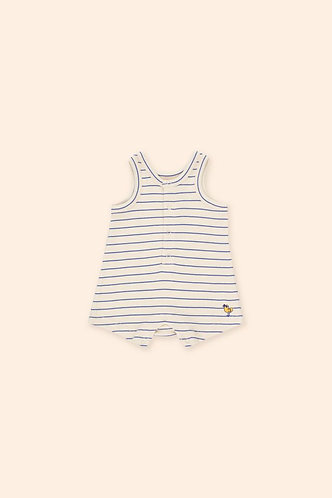 Bird Stripes One-Piece, Light Cream/Iris Blue - Tiny Cottons
