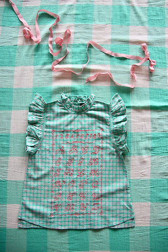 Top With Emb ABC, Mint Check - Bonjour Diary
