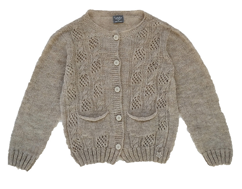 Open Work Ribbed Knit Cardigan, Beige - Tocoto Vintage