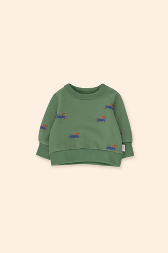 Doggy Paddle Baby Sweatshirt, Green - Tiny Cottons