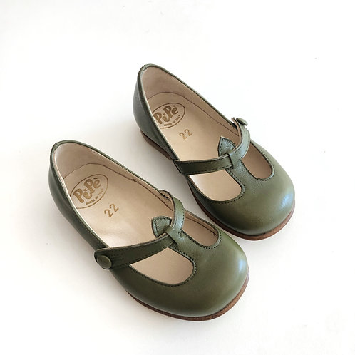 Lulu T-Bar Ballerinas, Olive by PePe