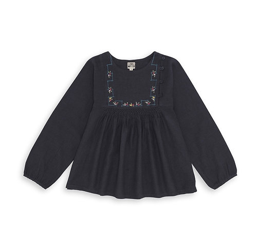 Embroidered Blouse, Charcoal - BONTON