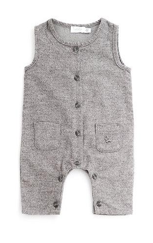 Flannel Jumpsuit, Grey - Tocoto Vintage