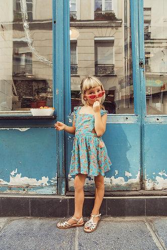 Mistinguette Dress, Turquoise Flowers  - Louise Misha