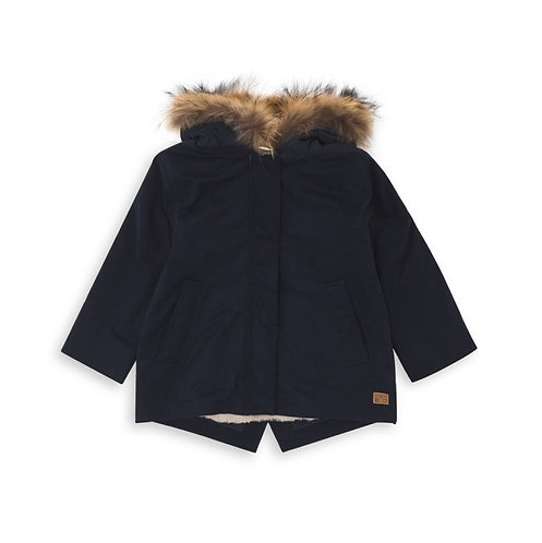 Fur-collar Parka, Marine - BONTON
