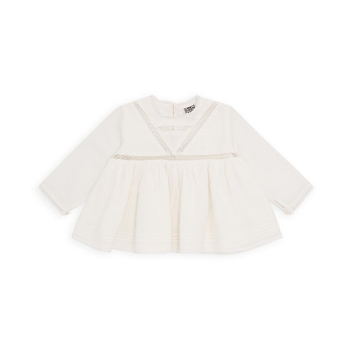 Blouse With Lace Insert, Off White - BONTON