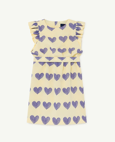 Weasel Kids Dress, Yellow Hearts - TAO