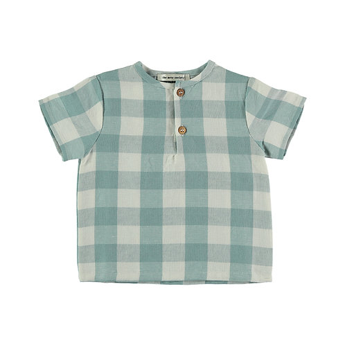 Figuier Baby Shirt, Vichy Turquoise - the new society