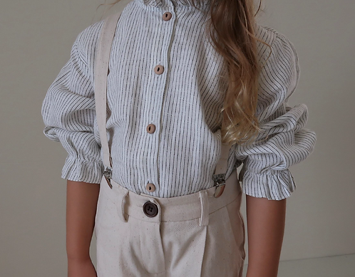 Fanette Blouse, Luxe Pinstripe Linen - House Of Paloma