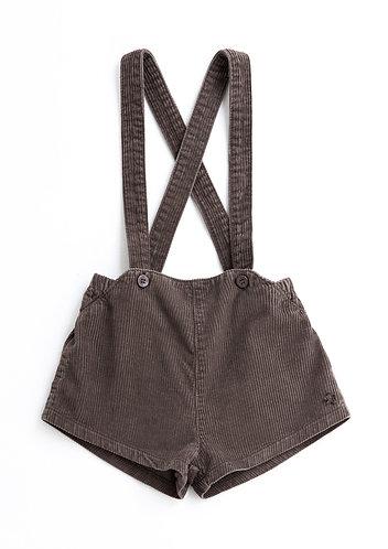 Corduroy Shorts Suspenders, Brown - Tocoto Vintage