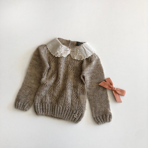 Open Work Ribbed Knit Sweater, Beige - Tocoto Vintage