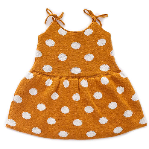 Tie Strap Dress, White/Ochre dots - Oeuf