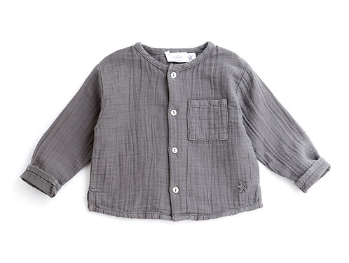 Mao Collar Shirt, Grey- Tocoto Vintage