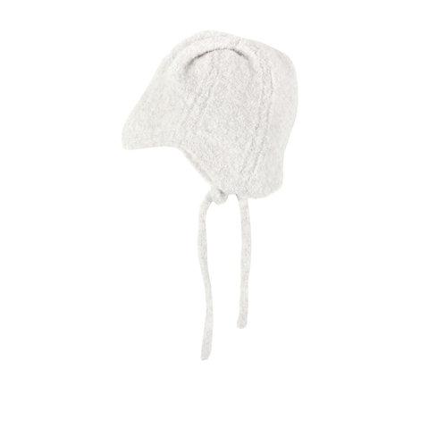 New Born Openwork Bonnet Light Grey - Bonnet a pompon