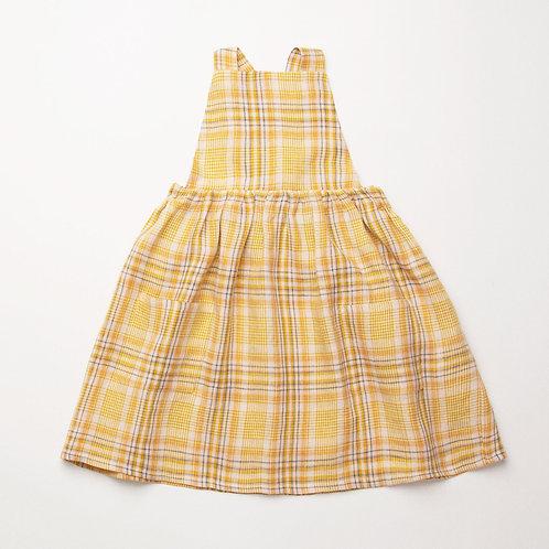 Conkers Pinafore, Hay Plaid Linen - Nellie Quats