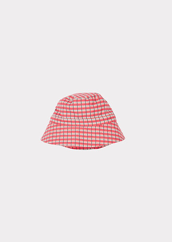 Wembley  Hat, Red Painted Check - Caramel