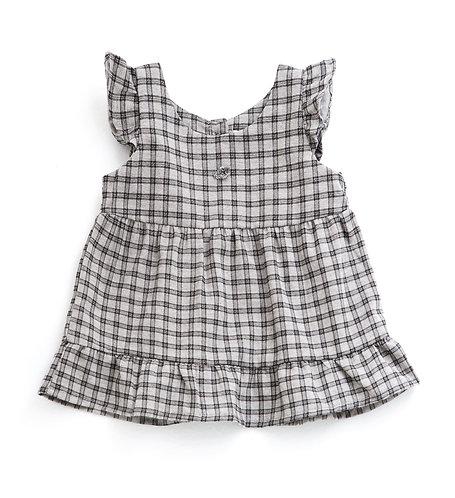Checked Dress, Grey - Tocoto Vintage