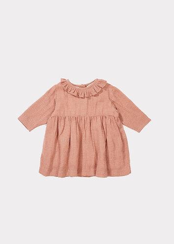 Avocet Baby Dress, Peach Mirco Houndstooth - Caramel