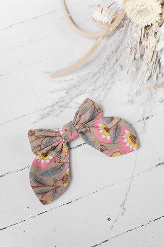Hair Clip Gila, Khaki Folk Flowers- Louise Misha