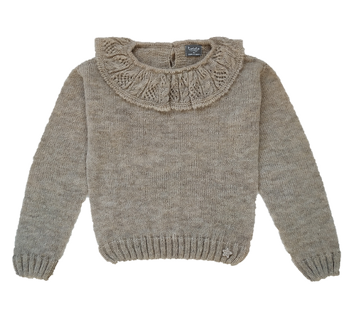 Knitted Sweater with Embroidered, Beige - Tocoto Vintage